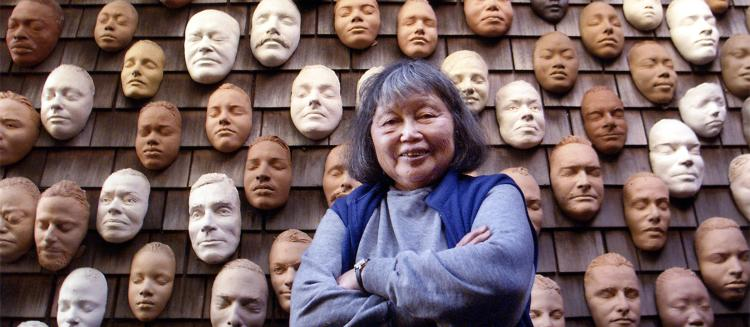 "An image of Ruth Asawa's ""Untitled (Wall Of Masks)"""