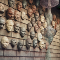 "An image of Ruth Asawa's ""Wall of Masks"""