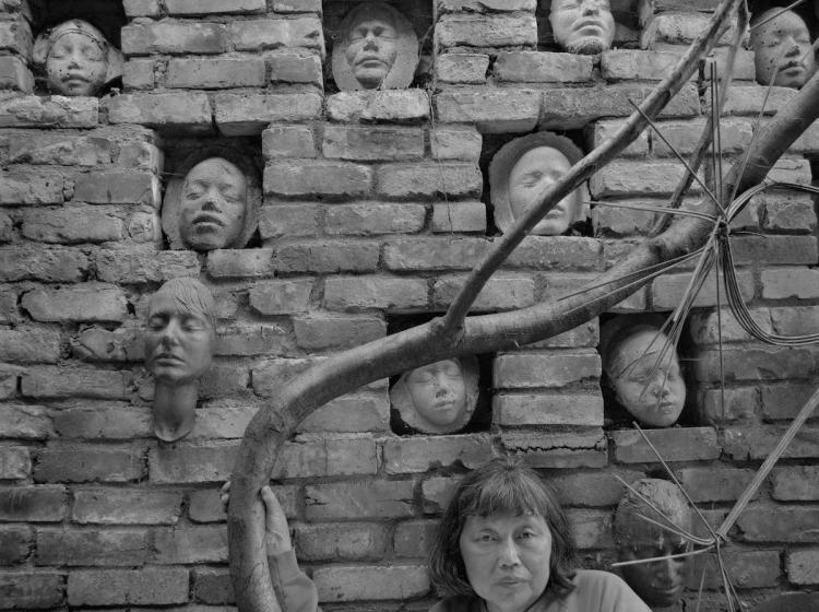 An image of Ruth Asawa with Family Masks