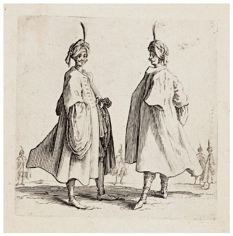 Jacques Callot (France, 1592–1635), Two Turkish Headdresses of a Turban with an Aigrette (Les Deux Turcs Coiffés d'un Turban Avec un Aigrette), 1621–24. Etching. Gift of Andrea Rothe and Jeanne McKee Rothe, 2015.43.13