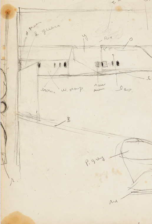 Richard Diebenkorn (U.S.A., 1922–1993), Drawing from Sketchbook # 15, 1943–93. Graphite on paper. © Richard Diebenkorn Foundation. Gift of Phyllis Diebenkorn, 2014.15.3