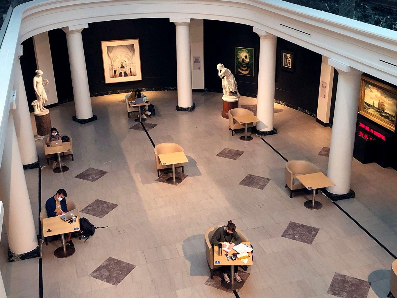 The University of Michigan Museum of Art has set up socially distanced study pods in its atrium so that students starved of campus space for study and reflection can book slots