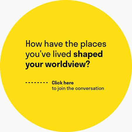 "A yellow circle with the question ""How have the places you've lived shaped your worldview?"""
