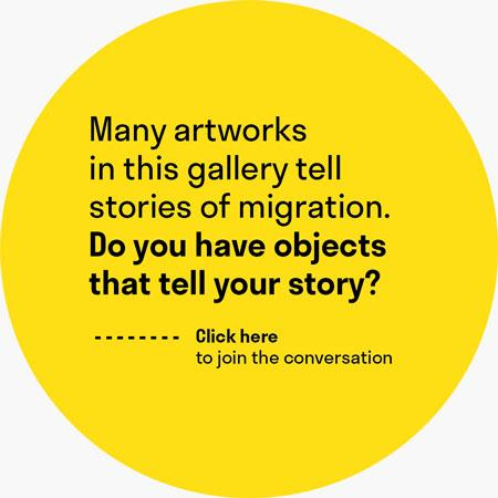 "A yellow circle with the question ""do you have objects that tell your story?"""