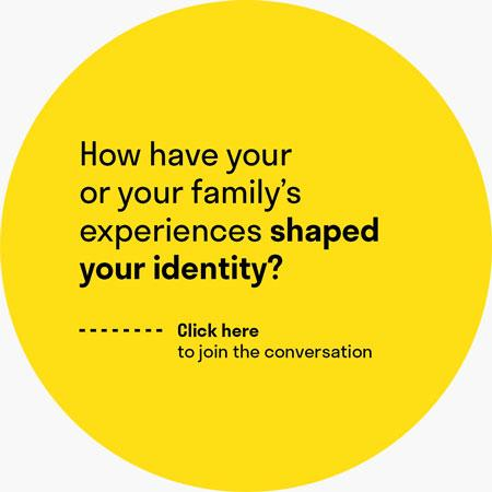 "A yellow circle with the question ""How have you or your family's experiences shaped your identity?"""