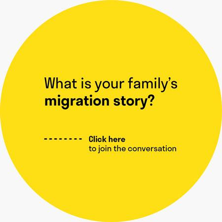 "A yellow circle with the question ""What is your family's migration story?"""