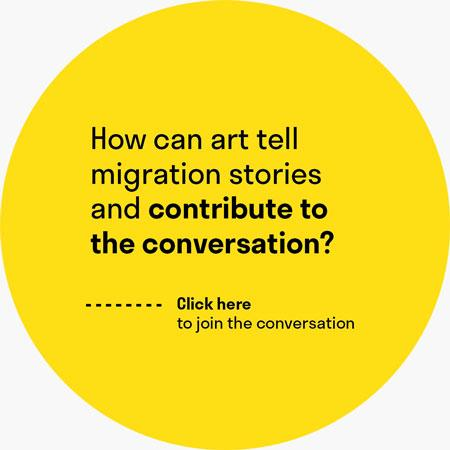 "A yellow circle with the question ""How can art tell migration stories and contribute to the conversation?"""